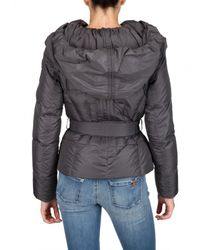 Add - Gray Belted Wide Hood Nylon Gloss Down Jacket - Lyst