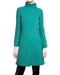 Alberta Ferretti | Blue Wool Crepe Coat | Lyst