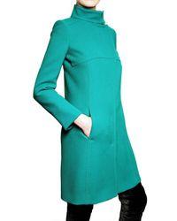 Alberta Ferretti - Blue Wool Crepe Coat - Lyst