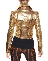 Alexander McQueen - Metallic Laminated Python Leather Jacket - Lyst