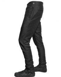 Ann Demeulemeester - Black Cotton Linen Gabardine Buttoned Trousers for Men - Lyst