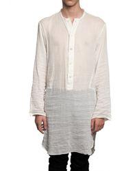 Ann Demeulemeester | White Cotton Gauze Long Shirt for Men | Lyst