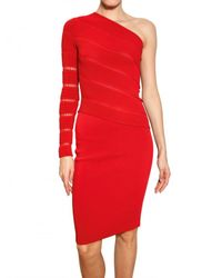 Antonio Berardi | Red One Shoulder Milano Stitch Dress | Lyst