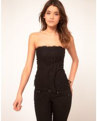 ASOS Collection | Black Corset with Eyelash Lace | Lyst