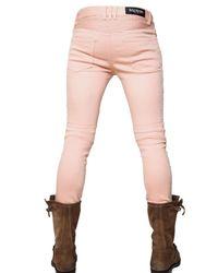 Balmain - Pink 17cm Coloured Denim Biker Jeans for Men - Lyst