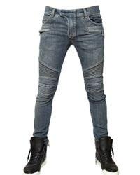 Balmain | Blue 17cm Washed Denim Biker Jeans for Men | Lyst