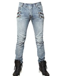 Balmain | Blue 18cm Multi Zip Denim Jeans for Men | Lyst