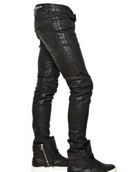 Balmain | Black 17cm Waxed Denim Jeans for Men | Lyst