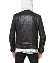 Balmain | Black Goatskin Biker Leather Jacket for Men | Lyst