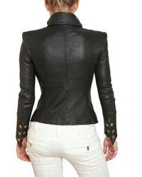 Balmain - Black Nappa Leather Jacket - Lyst