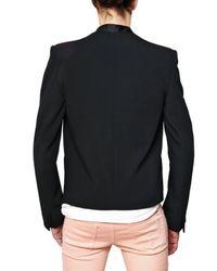 Balmain - Black Satin Revere Grain De Poudre Jacket for Men - Lyst