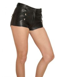Balmain - Black Zipped Stretch Leather Shorts - Lyst