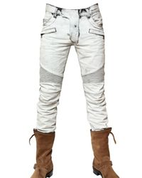 Balmain | Blue 18cm Bleached Biker Jeans for Men | Lyst