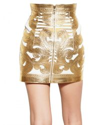 Balmain | Gold Laminated Nappa Skirt | Lyst