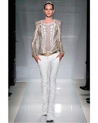 Balmain - White Embroidered Nappa Biker Leather Jacket - Lyst