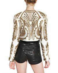 Balmain - Metallic Embroidered Nappa Bolero Leather Jacket - Lyst