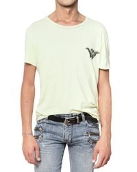 Balmain | Yellow Eagle Printed Jersey T-shirt for Men | Lyst