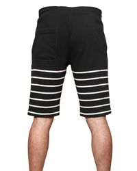 Band of Outsiders - Black Striped Cotton Fleece Shorts for Men - Lyst