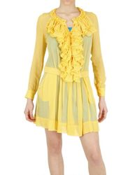 Beayukmui - Yellow Silk Chiffon Ruffle Dress - Lyst