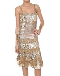 Blumarine | Metallic Sequin Silk Net Dress | Lyst