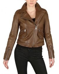 Burberry Brit - Brown Cropped Moto Leather Jacket - Lyst