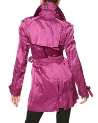 Burberry - Purple Wilmont Washed Viscose Satin Trench Coat - Lyst