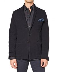 Burberry | Blue Reinforced Cotton Jersey Knitted Jacket for Men | Lyst