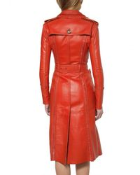Burberry Prorsum | Orange Embroidered Double Leather Coat | Lyst