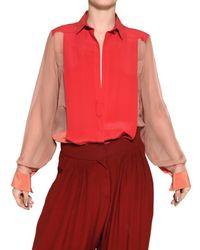 Chloé | Pink Crepe De Chine On Silk Chiffon Shirt | Lyst