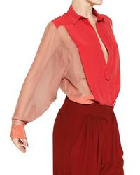 Chloé - Pink Crepe De Chine On Silk Chiffon Shirt - Lyst