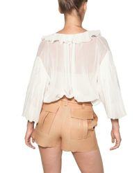 Chloé - White Ruffled Cotton Voile Shirt - Lyst
