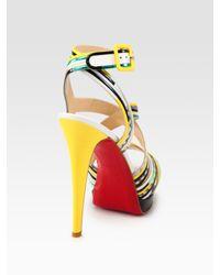 Christian Louboutin - Multicolor Meteorita Metallic Leather and Snake-print Leather Platform Sandals - Lyst
