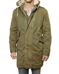Closed | Green Distressed Gabardine Eskimo Coat for Men | Lyst