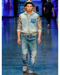 Dolce & Gabbana - Blue Denim Patchwork Ultra Baggy Jeans for Men - Lyst