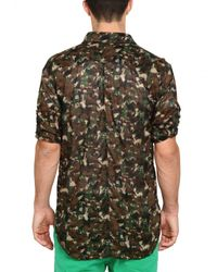 Dolce & Gabbana | Brown Camouflage Muslin Cotton Shirt for Men | Lyst