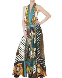 Dolce & Gabbana | Multicolor Vintage Print Satin Foulard Long Dress | Lyst