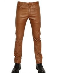 Dior Homme - Brown 17,5cm Stretch Nappa Leather Jeans for Men - Lyst