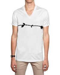 Dior Homme | White Rose Print Jersey V-neck T-shirt for Men | Lyst