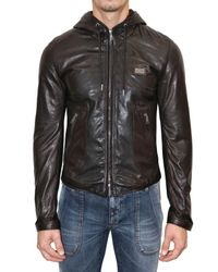 Dolce & Gabbana | Brown Lightweight Nappa Hooded Leather Jacket for Men | Lyst