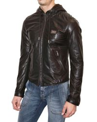 Dolce & Gabbana - Brown Lightweight Nappa Hooded Leather Jacket for Men - Lyst