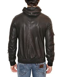 Dolce & Gabbana - Gray Washed Nappa Hooded Leather Jacket for Men - Lyst