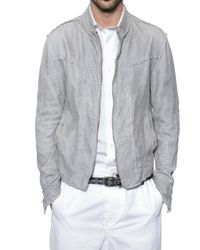 Dolce & Gabbana | Gray Nappa Net Mesh Leather Jacket for Men | Lyst