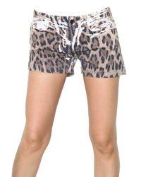 Dolce & Gabbana - Multicolor Leopard Print Denim Shorts - Lyst