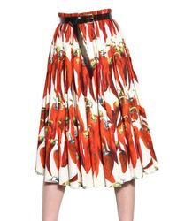 Dolce & Gabbana - Multicolor Hot Pepper Cotton Poplin Skirt - Lyst