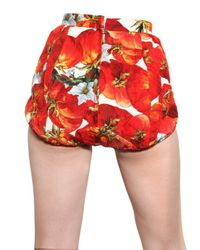 Dolce & Gabbana | Multicolor Jewelled Tomato Print Brocade Shorts | Lyst