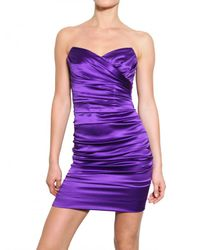 Dolce & Gabbana | Purple Stretch Silk Satin Dress | Lyst