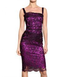 Dolce & Gabbana | Purple Viscose Lace Dress | Lyst