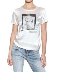 Dolce & Gabbana | White Marilyn Print Stretch Silk Satin T-shirt | Lyst