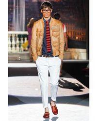 DSquared² - Natural Multi Pocket Bomber Leather Jacket for Men - Lyst