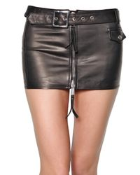 DSquared² | Black Biker Style Mini Nappa Leather Skirt | Lyst
